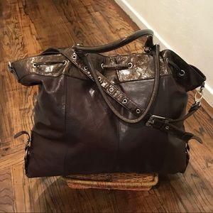 BCBG MaxAzria Leather Weekender Bag
